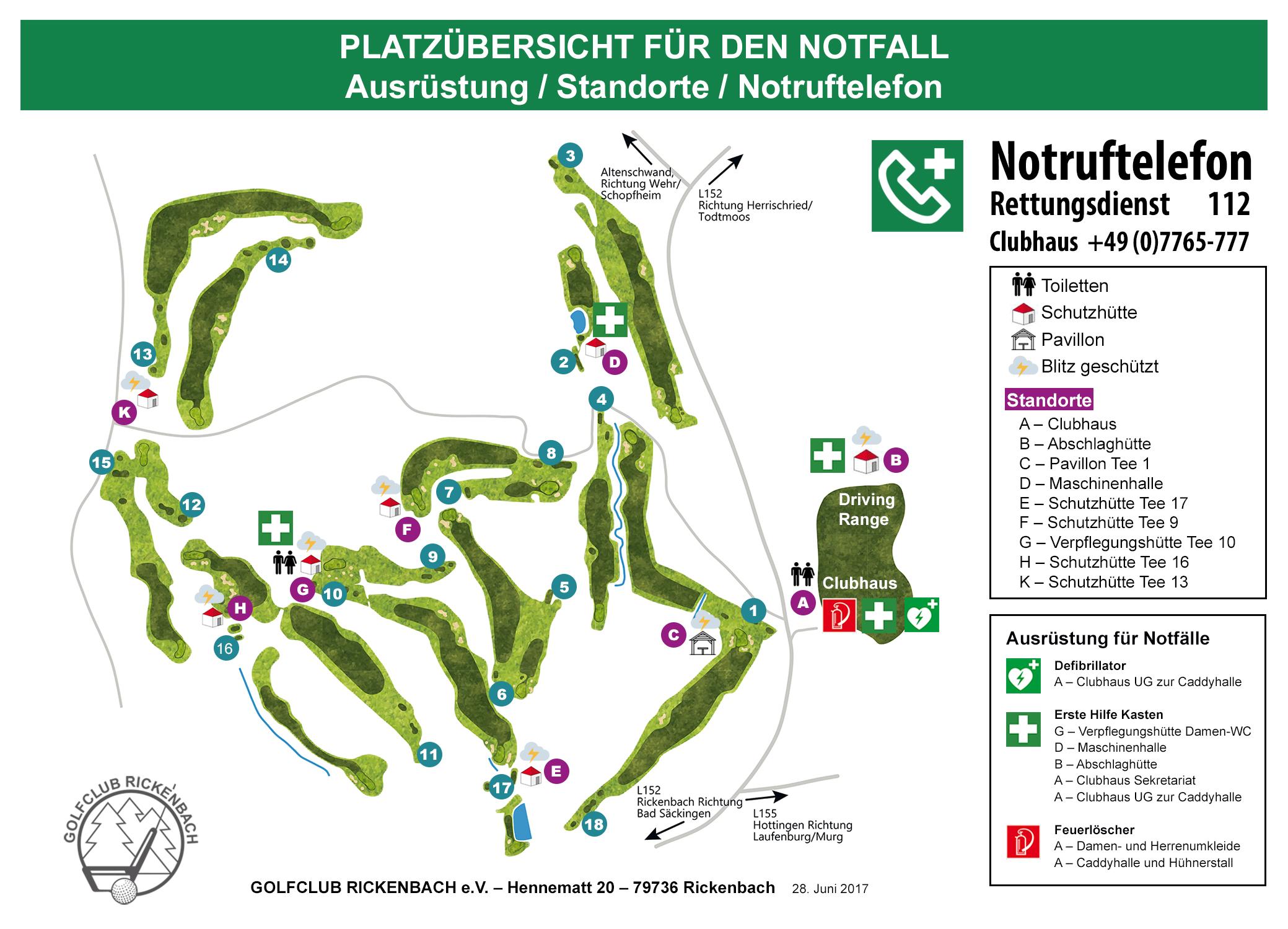 Platzübersicht - Notfall - Golfclub Rickenbach